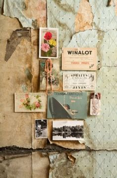 old wallpaper + vintage pictures ♥ this inspiration :3 #vintage #rustic #weathered