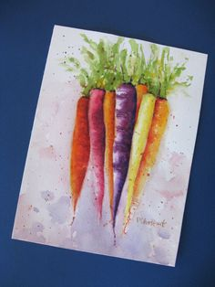 Watercolor painting giclée print - Rainbow Carrots- vegetables spring 9 x 12. $57.50, via Etsy.
