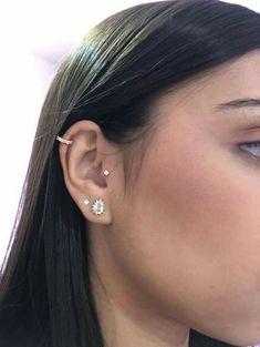 Gold Bar Chain Dangle Stud Earrings- Staple Studs/ Bar Studs/ Line Earrings/ Minimal Modern Studs/ Gold Chain Earrings/ Thread Earring Fine Jewelry Ideas Tragus Piercings, Ear Peircings, Cute Ear Piercings, Cartilage Earrings, Chain Earrings, Septum Ring, Ear Jewelry, Fine Jewelry, Jewellery