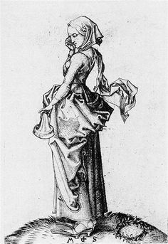 The Fifth Foolish Virgin, 1483 by Martin Schongauer. Northern Renaissance. religious painting. Budapest Museum of Fine Arts, Budapest, Hungary