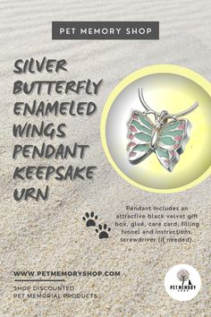 This whimsical silver butterfly has pastel green and pink enameled wings. It is fillable through a screw in the center of the back. Engraving is limited to three characters per side. Engraving is not included. Pet Memorial Jewelry, Keepsake Urns, Cremation Urns, Pet Loss, Pet Memorials, Pet Gifts, Black Velvet, Whimsical, Wings