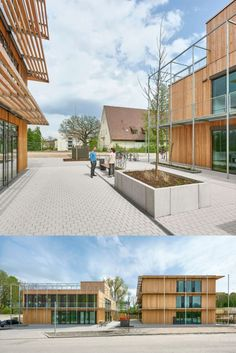 Soon this will be green. Let us introduce you to Rubina, our multifunctional building, a new educational and care centre for young people. It houses a kindergarten, the energy education centre, offices for the energy agency and scientific rooms for the MINT for Kids.programme. Photos @David Mathiessen #rubina #education #multipurpose #building #architecture #sustainability #timber #construction #wood #green #facade #plants #natural #materials #surfaces #light #atmosphere #project Education Center, How To Introduce Yourself, Sustainability, Green Facade, Deck, Building Architecture, Construction, Mansions, Young People