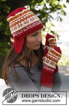 """Sweet Scarborough Hat - Knitted DROPS mittens and hat with ear flaps and Norwegian pattern in """"Karisma"""". - Free pattern by DROPS Design Ladies Cardigan Knitting Patterns, Knitting Patterns Free, Free Knitting, Crochet Patterns, Free Pattern, Finger Knitting, Scarf Patterns, Knitting Needles, Drops Design"""