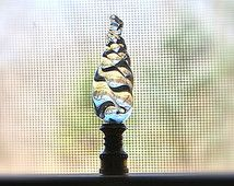 Swirly Twirly Crystal Lamp Finial Vintage Nice Quality Brilliant Sparkling