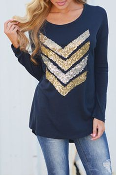 Gold sparkle sequined chevrons on Navy top! #outfitideas