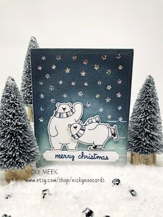 I used holographic cardstock behind the night sky to really make those stars twinkle like crazy! Dyi Christmas Cards, Holiday Cards, Christmas Ideas, Bear Card, Candy Cards, Mft Stamps, Winter Cards, Greeting Cards Handmade, Scrapbooking
