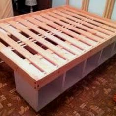 Ikea Storage Bed storage 2 shelves and 1 bed frame Ikea Hack Storage, Diy Storage Bed, Bed Frame With Storage, Diy Bed Frame, Bed Frames, Extra Storage, Bedroom Storage, Pallet Storage, Ikea Shelves