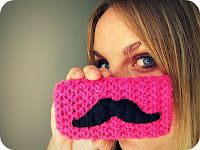 mustache phone cover - crocheted.. Must find someone lovely to make this for me. :)