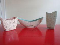 3 Atomic Retro Mid Century Modern Vases Planter