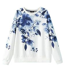 -Soft touch Cotton fabric, #Nice stitching;-Design with #Colorful Floral Printed Loose Pullover Sweatshirt;-Loosed fit and comfortable to wear;Style:High-Streets...