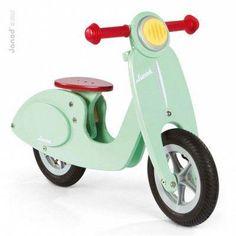 Toddler Janod Mint Balance Scooter Bike My son runs all around the living room on this toddler bike. Toddlers learn how to balance and steer with the scooter bike. Scooter Vintage, Wooden Scooter, Scooter Bike, Retro Scooter, Scooter Shop, Kids Scooter, Baby Toys, Kids Toys, Toddler Toys