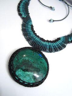 Chrysocolla Macrame Necklace handmade with natural chrysocolla gemstone cabochon