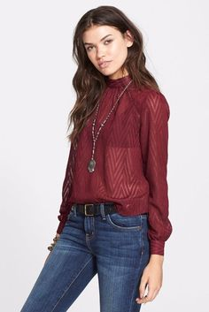 $98 Free People Merlot Burgundy After Midnight Sheer Chevron Blouse S NWT F435 #FreePeople #Blouse #EveningOccasion