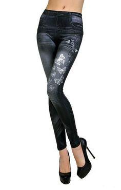 Beautiful Black Butterfly Slim N Fit Jeans