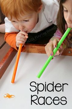 All you need for this game is some straws and plastic toy spiders — whichever kid blows their spider across the finish line first wins. Get the tutorial at Still Playing School » What you'll need: straws ($8, amazon.com), plastic spiders ($6, amazon.com)