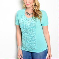 Mint Lace Accented Top This lovely top features lace panel detail and short sleeves. Comfy knit material. 60% Polyester 40% Cotton. (This closet does not trade or use PayPal) IRE Tops