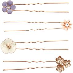 Accessorize 4 X Assorted Flower Hair Pins (9.23 AUD) ❤ liked on Polyvore…