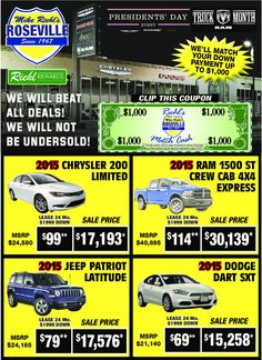 Check out our new car savings through March 2, 2015.