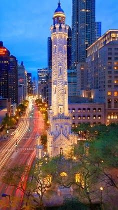 "Chicago Water Tower, Michigan Avenue, the ""Magnificant Mile. Survived the Chicago Fire of Places Around The World, Oh The Places You'll Go, Places To Travel, Places To Visit, Around The Worlds, Wonderful Places, Great Places, Beautiful Places, We Are The World"
