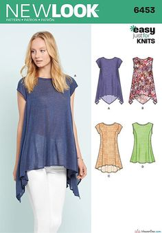 New Look Sewing Pattern NL6453 - Misses' easy to sew knit top pattern with asymmetric hemlines, sleeveless or cap sleeves & princess seams that allow for great fit across the top and loose at the bottom... plus mix or match fabric options … WeaverDee.com