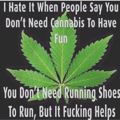 I hate it when people you don't need Cannabis to have fun. You don't need running shoes to run, but it fucking helps. Weed Memes, Weed Humor, Weed Facts, Funny Weed Quotes, Weed Funny, Puff And Pass, Smoking Weed, Medical Marijuana, Marijuana Funny