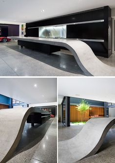 11 Creative Concrete Countertop Designs To Inspire You    The 9 meter long concrete countertop in the kitchen of this home rises up from the floor to create a sculptural kitchen island.