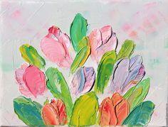 """Купить """"Весёлые тюльпаны"""" - авторская картина маслом с тюльпанами - белый, картина для спальни, картина для гостиной"""
