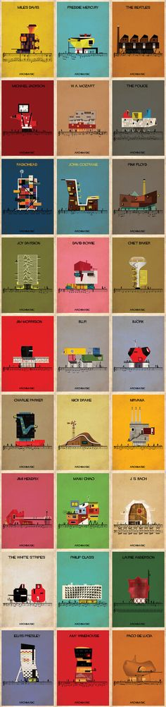 Another fun project by illustrator Federico Babina, Archimusic shows a series of posters inspired by the sound, personality and style of famous bands and musicians depicted in creative illustration… Architecture Graphics, Architecture Student, Architecture Drawings, Architecture Design, Kunst Poster, Poster S, Poster Prints, Creative Illustration, Graphic Illustration
