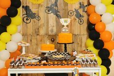 How about a boy's dirt bike birthday party? Strap on your helmet and prepare to get the dirt on bike shaped cookies, coordinating treats and decorations! Motocross Birthday Party, Motorcycle Birthday Parties, Dirt Bike Party, Dirt Bike Birthday, Motorcycle Party, 1st Birthday Boy Themes, Birthday Party Table Decorations, Birthday Party Tables, 4th Birthday Parties