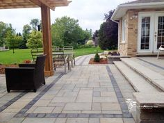 We can design borders in your patio to really define the different areas of your outdoor living space. Outdoor Living, Outdoor Decor, Holiday Lights, Can Design, Landscape Lighting, Walkway, Living Spaces, Exterior, Patio