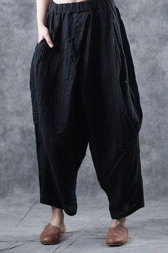 Women Loose Linen Casual Pants Spring Fashion Trousers W1691 Loose Pants, Cropped Pants, Fall Pants, Harem Trousers, Black Linen, Grey Pants, Linen Pants, Fashion Pants, Spring Fashion