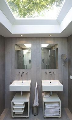 Architecture, Interesting Dutch God's Loft Story Project Featuring Loft Conversion Bathroom Interior Design With Glass Roof, White Sink, Vanity, And Wall Mirror: Striking Dutch House Idea Traditionally Designed with Brick Exterior Bad Inspiration, Bathroom Inspiration, Bathroom Interior, Modern Bathroom, Small Bathroom, Master Bathrooms, Small Sink, Double Sinks In Bathroom, Serene Bathroom