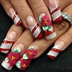 Fav Holiday nails for 2013 Christmas Nail Polish, Xmas Nails, Christmas Nail Designs, Holiday Nails, Long Square Acrylic Nails, Best Acrylic Nails, Hot Nails, Pink Nails, Fancy Nails
