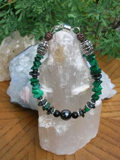 Malachite, Banded Black Onyx, and Hematite Gemstone Bracelet Assists with Heart Chakra, Arthritis, and Pain Relief No-Fuss magnetic closure