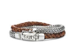 Leren armband Shiva 370 cognac SILK
