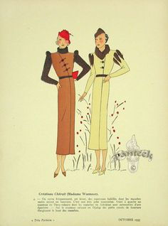 Très Parisien Fashion Print, October 1935, Chéruit (Madame Wormser)