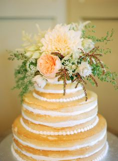 View entire slideshow: 20 Of Our Favorite Naked Cakes on http://www.stylemepretty.com/collection/1269/