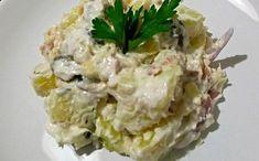 Πατατοσαλάτα με τόνο και σος γιαουρτιού Kinds Of Salad, Salad Bar, Couscous, Salad Dressing, Burritos, I Foods, Potato Salad, Spinach, Cabbage