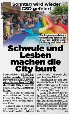 #Schwule und #Lesben feiern wieder #CSD!  #Saarland #Saarbrue... Saarland: #Schwule und #Lesben feiern wieder #CSD!  #Saarland #Saarbruecken https://t.co/4bQ4ispmX2 BILD #Saarland, Hier twittert die BILD-Redaktion aus dem Saarland: News, #Sport, Kultur, Promis, Ausstellungen und Events aus der Region Impressum: http://t.co/ZejgBClbsE #Schwule und #Lesben feiern wieder #CSD!  #Saarland #Saarbrue... - 0 - #Saarland http://saar.city/?p=22856
