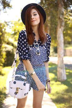 Floral Romper Polka Dots Shirt Striped Shoes!
