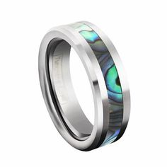 6mm Comfort Fit High Polish Tungsten Carbide Ring with Abalone Shell Inlay Inlay Ladies Wedding Band/ Engagement Ring Tungsten Love. $22.99. Material: Tungsten Carbide. Thickness: 2.0 to 2.3mm. Width: 6mm. Finish: Polish Shiny & Shell Inlay. Fit: Comfort fit