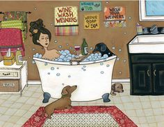 Weiners in the Tub, dachshund bubble bath dog art print, black and tan doxie, red brown wiener dog Dachshund Funny, Dachshund Art, Daschund, Dachshund Drawing, Weenie Dogs, Doggies, Dog Art, Cartoons, Canvas Prints