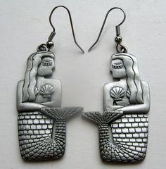 #Mermaid Vintage JJ Jonette Jewelry MERMAID EARRINGS, signed #sideeffectsny..... CUTE!