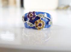New Gem Insider Sterling Silver Lapis Genuine Amethyst Citrine Flower Band Ring #GemInsider #Cluster
