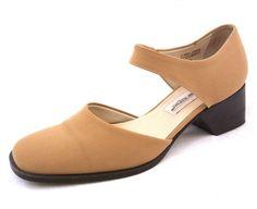Etienne Aigner 8 Harrelson Beige Tan Fabric Pumps Womens Ankle Strap Heels Shoes #EtienneAigner #AnkleStrap #WeartoWork