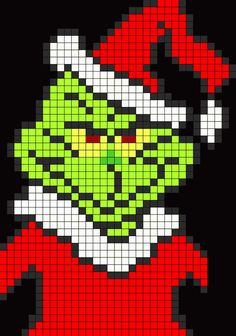 Christmas Grinch - Cool Perler Bead Patterns, http://hative.com/cool-perler-bead-patterns/,
