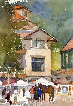 "Heritage Plaza Market_quick paint by Richard Sneary Watercolor ~ 10"" x 7"""