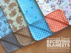 reversible flannel receiving blanket tutorial
