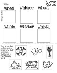 WH Digraph: Picture Sort by Kathryn's Kreations | Teachers Pay Teachers