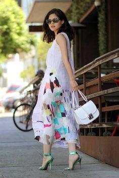 Chloé White Summer Multicolor Print Silk Maxi Tank Dress